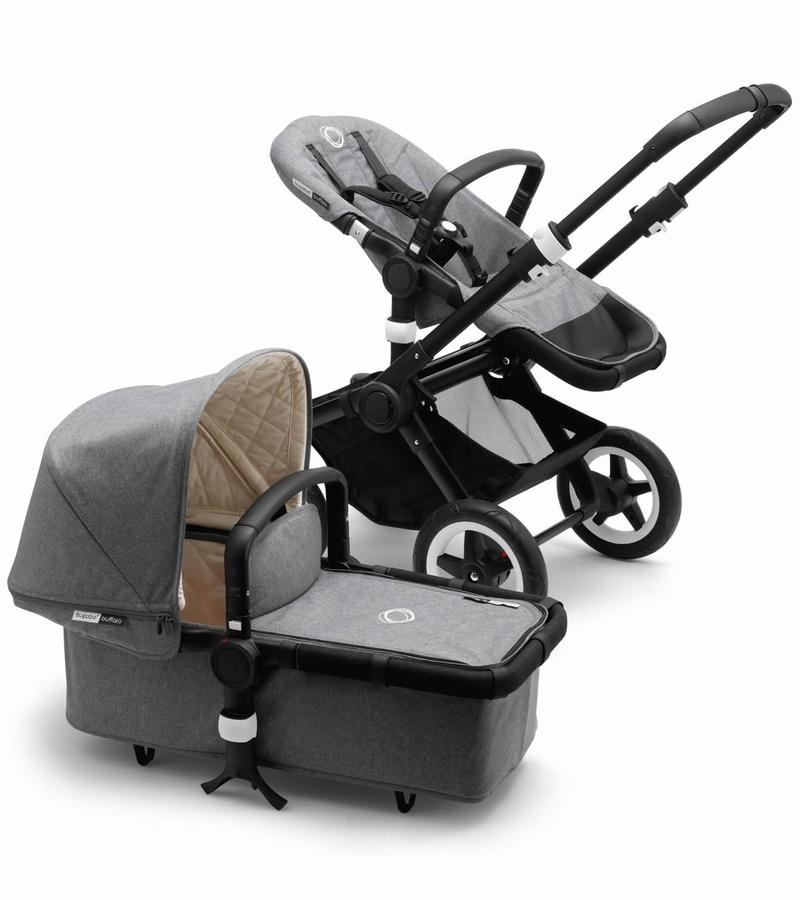 美國正品代購Bugaboo 推車+提籃-灰色 Buffalo Classic Plus Stroller - Grey Melange