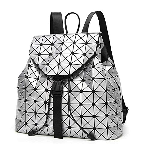 Geometric Backpack幾何菱格銀光後背包Silver銀色