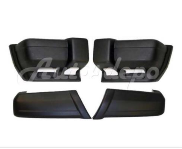 Bundle FOR 1997-2001 Cherokee Front & Rear Bumper End/Cap Textured Black 4Pcs