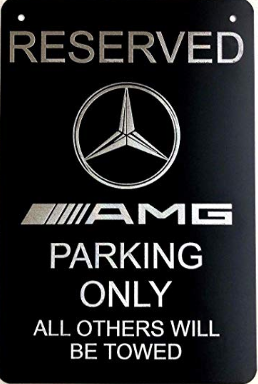 "Diamond Etched Mercedes AMG Logo Parking Sign on 12"" X 18"" Aluminum Matte Black"