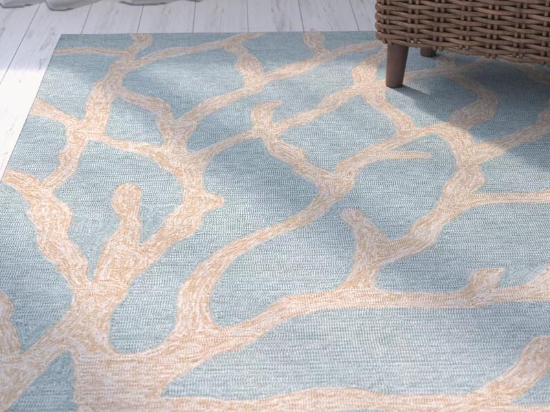 Wayfair 威菲兒 Nilles Blue/Frosty Green Coastal Rug 藍綠色地毯