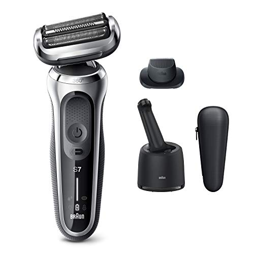 Braun Electric Razor for Men, Series 7 7071cc 360 Flex Head Electric Shaver with Precision Trimmer, Rechargeable, Wet & Dry, 4in1 SmartCare Center and Travel Case