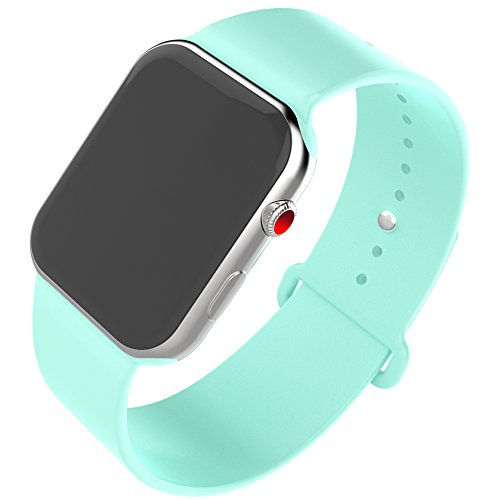 QIENGO For Apple Watch Band 38MM, Soft Silicone Sports Replacement Strap for iWatch Series 3, Series 2, Series 1, Edition, Nike+, Hermes (38MM-SM, Marine Green)